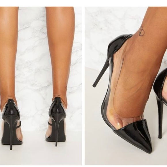 Prettylittlething Black Patent Clear